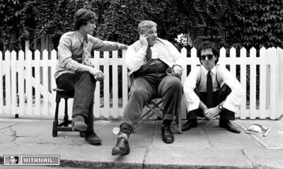 Paul McGann, Richard Griffiths and Richard E Grant on set