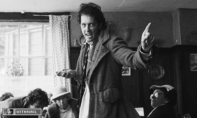 Withnail wearing Andrea Galer's coat